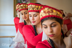 Portrait of young female Armenian dancers dancing in a row while holding hands, Washington Grove, Maryland. (Remsberg Photos) Tags: armenia armenian costume culture dance folk tradition heritage ornate youngwomen posed dancer veil dancestudio preformer preformingarts elegance grace style sophistication female indoors inarow portrait beauty delicate refinement holdinghands togetherness harmony synchronize washingtongrove maryland usa