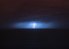 Alone (AzurTones_Photography) Tags: sea water toulon var paca lightning thunder orage foudre eclair horizon frenchriviera cotedazur azur night light sky clouds storm tempête