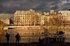 Paris /  Flood of the Seine / Firemen  -3- (Pantchoa) Tags: paris seine inondation crue eau pompiers façades architecture nuages péniche pénichesespompiers arbre quai silhouette ombrechinoise