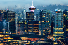 Downtown Vancouver battles night and fog as shot from Cypress Mountain lookout point. (marekeos) Tags: vancouver fog cypress city downtown cityscape metropolis canada