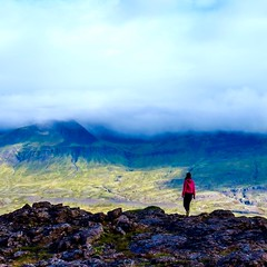 Iceland legendary. (Monica@Boston) Tags: shadow sunshine pink scenery trees rocks landscape clouds mountains iceland girl