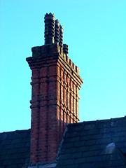 Sunlit Brick Chimney, Liverpool, England (teresue) Tags: 2017 uk england greatbritain merseyside liverpool chimney brick