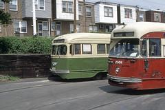 US PA Philadelphia SEPTA PCC 2537-2309 4-1981 Torresdale-Cottman Loop (David Pirmann) Tags: tram transit streetcar trolley septa ptc philadelphia pa pennsylvania pcc