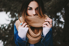 Taylor (Savannah Daras) Tags: winter maine portrait female scarf cozy comfy beautiful colorful vibrant canon sigma 35mm bokeh forest snowy pale savannahdaras taylorbelanger paleskin greenery pine intense confident jeanjacket denim fashion newengland woods