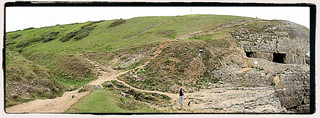 Tilly Whim Caves, in May 2017, set in the beautiful Durlston National Nature Reserve, on the Isle of Purbeck, Swanage, Dorset.