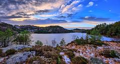 Colorful winter landscape, Norway (Vest der ute) Tags: xt2 norway rogaland haugesund djupadalen water waterscape lake landscape winter clouds sky trees tree grass snow rocks bluesky fav25 fav200