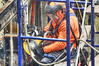 good vibrations (albyn.davis) Tags: man worker colors bright orange construction working color people hdr