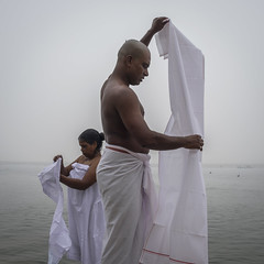 White (SaumalyaGhosh.com) Tags: white benaras ghat people color mist mystic clothes water man woman india street streetphotography