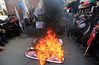 Palestinians burn posters of U.S. President Donald Trump's and Israeli President Benjamin Netanyahu during a protest against U.S. President Donald Trump's decision to recognise Jerusalem as the capital of Israel, in Gaza city (apa13) Tags: palestinian gaza president us donaldtrumps decision jerusalem israel benjaminnetanyahu gazacity gazastrip palestinianterritory pse