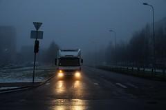 Early drive III (Mikhail Korolkov) Tags: street mist morning gloomy car lights winter blue fujifilm xe2 xf1855mm