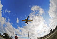 Spirit Airlines Short Final for FLL (Infinity & Beyond Photography) Tags: 8mm samyang fisheye lens spirit airlines airbus sky clouds ft fort lauderdale florida fll