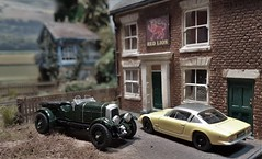 Steed & Mrs Peel at the Red Lion Pub. (ManOfYorkshire) Tags: redlion dogley steed mrspeel theavengers tv serties inspired bentley lotus 176 scale oogauge diecast models car cars diorama oxforddiecast pub parked