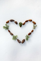 spreading the love (catklein) Tags: snow heart pinecone nature pine needle white