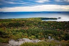 View from Mt. Battie (rohithpalagiri) Tags: camden hills sea rock landscape ocean acadia water forest tree grass sky