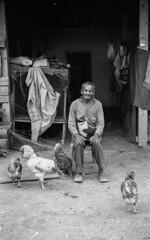 "A man, his chickens and his Isan hut  m7 - 35mm summaron - TX - Xtol (Sailing ""Footprints: Real to Reel"" (Ronn ashore)) Tags: man farmer people face elderly countryside chickens animal isan thailand bw blackandwhite film analog leicam7 leica35mmsummaronf28 35mm"
