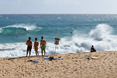 Dangerous Shorebreak at Sandy Beach (trailwalker52) Tags: hawaii oahu sandybeach ocean shorebreak roughocean roughwaves bigwaves bigwave crashing dangerousshorebreak sign warning dangerous
