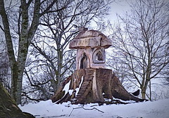 Birdland (Rollingstone1) Tags: birdland levengrovepark dumbarton scotland trees snow winter house bird blackbird nature outdoor art artwork