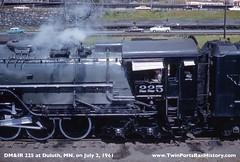 DM&IR 225 at Duluth, MN. on July 2, 1961 (Twin Ports Rail History) Tags: jefflemketwinportsrailhistorytrainsinc usa dmir missabe steam locomotive yellowstone duluth mn minnesota 1961 fan trip railway railroad iron range