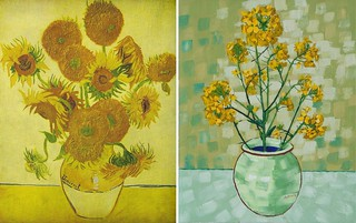 Still Life Vase with Fourteen Sunflowers - Rapeseed by Van Gogh 1888 and Anthony D. Padgett 2017