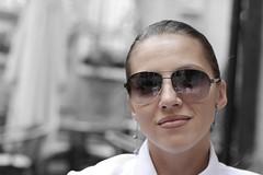 The girl is in dark glasses (bobobahmat) Tags: color bnw bw black blackandwhite blackwhite blacknwhite lviv life lvov ukraine ukrainian 2013 white woman girl glasses dark people portrait closeup