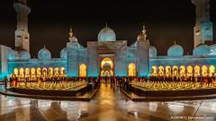 Abu Dhabi, United Arab Emirates: Fountains before Sheikh Zayed Mosque (nabobswims) Tags: ae abudhabi fountain hdr highdynamicrange ilce6000 lightroom mosque nabob nabobswims night nightfoto photomatix sel1018 sheikhzayedmosque sonya6000 uae unitedarabemirates