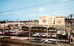 Marvin K. Brown Cadillac, San Diego CA, 1960s (aldenjewell) Tags: marvin k brown cadillac san diego ca california dealership showroom 1960s postcard used lot