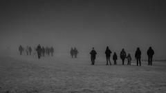 Walking to nowhere (ralfkai41) Tags: nebel monochrom nature mist walking menschen balticsea natur sea laufen beach ostsee schwarzweis strand blackwhite bw sw landscape fog people trist landschaft meer