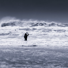 The Wave and the Girl (Bruus UK) Tags: polzeath surf cornwall cornwalllife girl water sea ocean atlantic rough cynotype bw marine beach beachgirl beachpeople spray seaspray sport watersports surfing