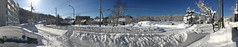 View Out the Front Door of our Very Own Snowbank (sjrankin) Tags: 21february2018 edited snow snowbank weather road sidewalk sky clear car cars building panorama