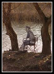 Wire Fisherman (veggiesosage) Tags: nottinghamshire newsteadabbey statelyhome aficionados gx20 sculptures