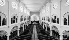Pew Panorama (burntpixel.ca) Tags: canada manitoba winnipeg photo photograph fine art patrick mcneill burntpixel horizontal panorama black white monochrome architecture church religious religion building