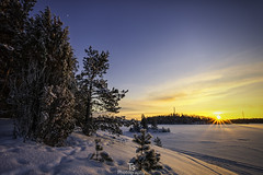The sunset of February (Taavi Salakka) Tags: canon 5d canon5d 1740mm wideangle winter sunset lake saimaa snow cloudsinsunset moon suomi landscapes skyscape clearsky