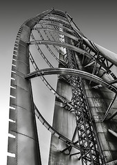 IMG_0660A The underside of the Glasgow Tower (ronniefleming@btinternet.com) Tags: glasgowtower riverside waterfront bw blackandwhite mono steel aluminiumplating visitglasgow visitscotland scotland glasgow steelstructure