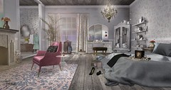 There's no time to be bored in a world as beautiful as this (Trixie Lanley) Tags: serenitystyle decocrate peaches aria mudhoney tarte collabor88 c88 kosmii on9 homedecor secondlife bedroom skybox merak applefall malone dustbunny drd deathrowdesigns keke fancydecor