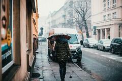 Sidewalker (ewitsoe) Tags: canon jezyce ewitsoe poznan poland winter street urban city snowing eos 6dii 50mm cityscape wetsnow umbrella