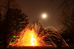 More fun with Orbs (ET's Photo Home) Tags: wisconsin night muskego fullmoon moonlight nightshot trees pines orbs fire burning stars sky fun