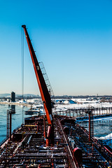 Boom up! (langdon10) Tags: atsea canada canon70d laurentiadesgagnes quebec ship shoreline stlawrenceriver tanker cold nautical outdoors winter