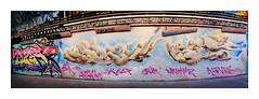 Street Art (Tizer, ?), South East London, England. (Joseph O'Malley64) Tags: tizer graffiti streetart urbanart publicart freeart southeastlondon london england uk britain british greatbritain art artist artists artistry artwork mural muralist wallmural wallmurals tunnel render brickwork bricksmortar cement pointing victorianbuilding victorianstructure wiring electricalwiring pipes piping lighting flourescentlighting lamps tarmac panorama panoramic incamerastitch urban urbanlandscape aerosol cans spray paint fujix x100t accuracyprecision