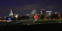 Downtown Minneapolis skyline from the Sculpture Garden (schwerdf) Tags: downtownminneapolisskyline hdr lowryhill minneapolis minnesota nighttime sculpturegarden spoonbridgeandcherry stmarysbasilica