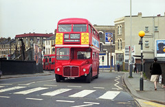 RM932 (AC) prepares to turn at Willesden Junction on 19-5-84. Copyright Ian Cuthbertson (I C railway photo's) Tags: londontransport routemaster rm932 willesdenjunction bus route260 red
