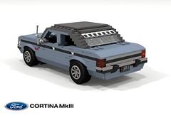 Ford Cortina MkIII GXL (lego911) Tags: ford cortina mkiii mk3 sedan saloon 1970s classic 1969 auto car moc model miniland lego lego911 ldd render cad povray gxl