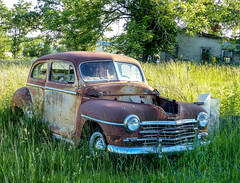 Rusty Old 1947? Plymouth Two Door Sedan (J Wells S) Tags: plymouth rust rusty crusty junk abandoned sunset route66 themotherroad i44 hwymm lebanon missouri twodoorsedan 1947plymouth2doorsedan