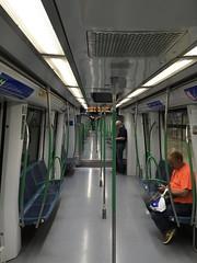Madrid Metro train interior (Debrian Media) Tags: flickr madrid metro rating3 spain train madridbarajasinternationalairport airport mad