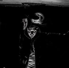 Double Trouble. (thebastardchild) Tags: 120 120film amateur amateurphotography art hobby passion retro vintage agfa agfaisolette mediumformat mediumformatfilmphotography kodak professional 125iso kodakprofessional125iso kodakfilm blackandwhite doubleexposure mx multipleexposure accident friend amateurphotographer amateurfilmphotography 2012 prestwich portrait uk unitedkingdom