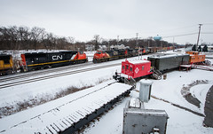 Griffith Meet (Wheelnrail) Tags: cn canadian national train trains griffith indiana railroad rail road ge emd manifest locomotive rails cold winter caboose snow meet just right