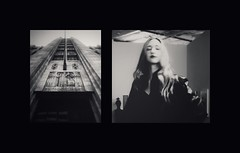 """"""" To Build a Business That Will Never Know Completion"""" by d i a n e p o w e r s -   (Left panel from my husband, re-edited and re-imagined Bullocks  Wilshire.)  ( Right) Leslie Jean  Porter Gallery  fashion show."""
