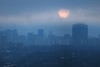Super Blue Blood Moon on Misty Morning (Katrin Ray) Tags: superbluebloodmoononmistymorning januarybluemoon bluemoon moon 2018 january fullmoon winter beforesunrise moonset morning bluehour sky cloudy blue skyscraper toronto ontario canada katrinray dreamscapesoftoronto canonphotography canon eos rebel t6i 750d supermoon