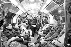 A Different Kind Of Solitude (Douguerreotype) Tags: candid london monochrome people blackandwhite tube uk underground british urban train mono city britain subway metro bw gb england