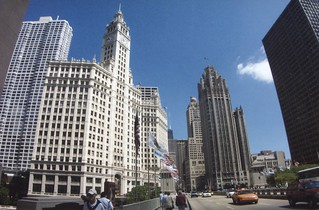 Chicago Illinois ~ Michigan Historic Bridge - Wrigley Building - Tribune Building - Inter  Continental  Hotel  - Former Shriners Building  - Skyscapers