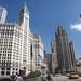 Chicago Illinois ~ Michigan Historic Bridge - Wrigley Building - Tribune Building - Inter  Continental  Hotel  - Former Shriners Building  - Skyscapers